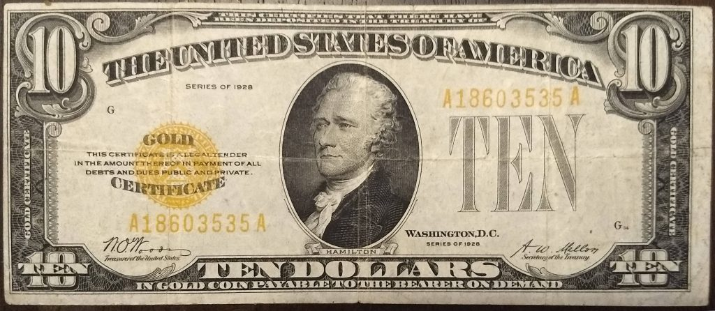 10 dollar gold note